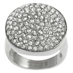 Journee Collection Stainless Steel Pave-set Cubic Zirconia Dome Ring