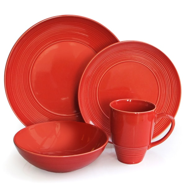 American Atelier Red Boulevard 16 Piece Dinner Set