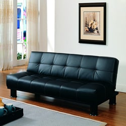 Bento Black Faux Leather Elegant Lounger