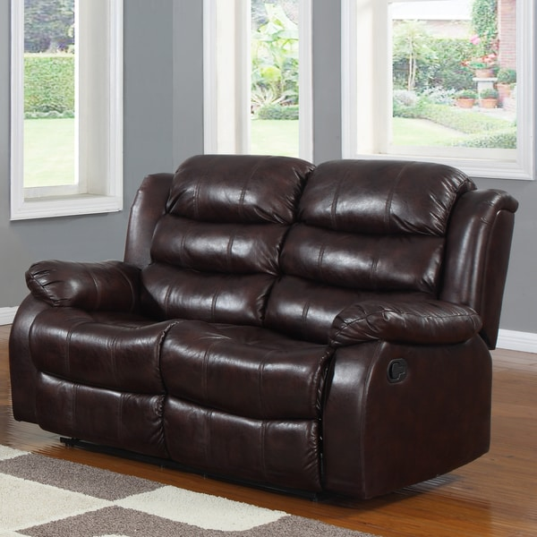 Buxton Burgundy Polished Microfiber Tufted Double Recliner Loveseat