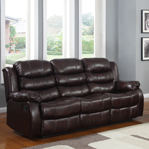 Buxton Burgundy Polished Microfiber Tufted Double Recliner Sofa