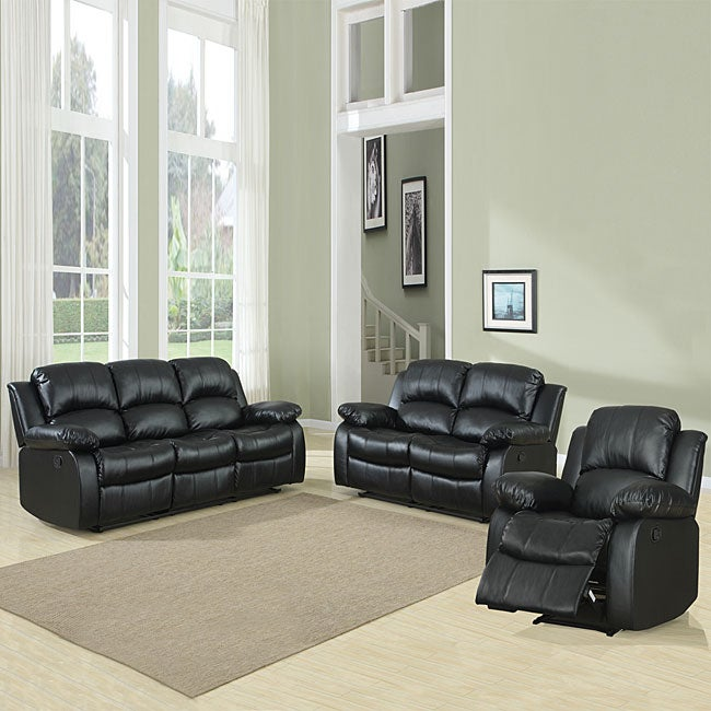 tribecca home coleford 3 piece black reclining living room set
