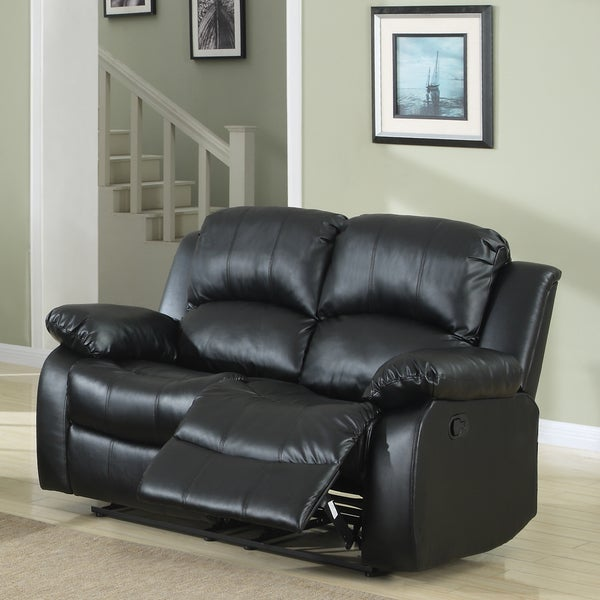 TRIBECCA HOME Coleford Black Double Reclining Loveseat