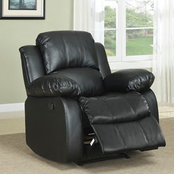 Coleford Black Faux Leather Tufted Transitional Reclining Chair
