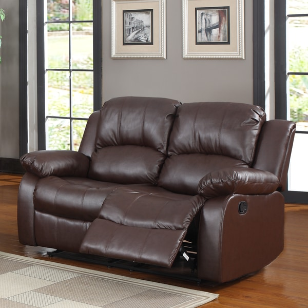 TRIBECCA HOME Coleford Brown Double Reclining Loveseat