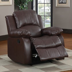 Coleford Brown Faux Leather Tufted Transitional Reclining Chair