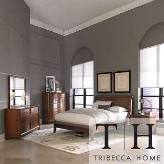 Tribecca Home Lancashire Walnut 5 Piece Curved Sleigh Queen Size Bedroom Set Overstock