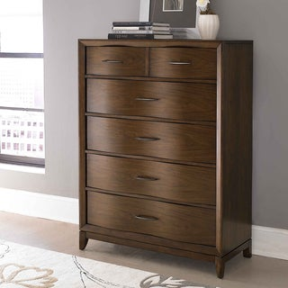 Lancashire Walnut Brown 6-drawer Curved Front Chest