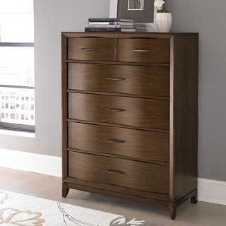 Tribecca Home Lancashire Walnut Brown 6-drawer Curved Front Chest