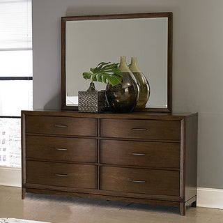 Tribecca Home Lancashire Walnut 6-drawer Curved Front Dresser and Mirror
