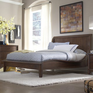 Lancashire Walnut Brown Curved Sleigh King-size Bed