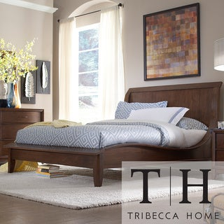 TRIBECCA HOME Lancashire Walnut Brown Curved Sleigh King-size Bed