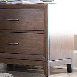 Lancashire Walnut Brown Curved Front 2-drawer Nightstand