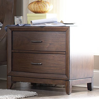 Tribecca Home Lancashire Walnut Brown Curved Front 2-drawer Nightstand