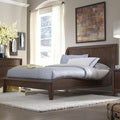 Lancashire Walnut Brown Curved Sleigh Queen-size Bed
