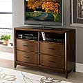 Lancashire Walnut Brown Curved Front 4-drawer TV Storage Chest