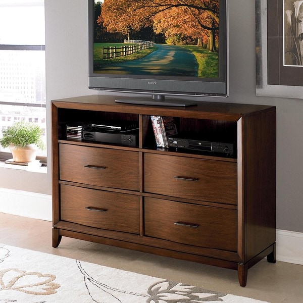 TRIBECCA HOME Lancashire Walnut Brown Curved Front 4-drawer TV Storage Chest