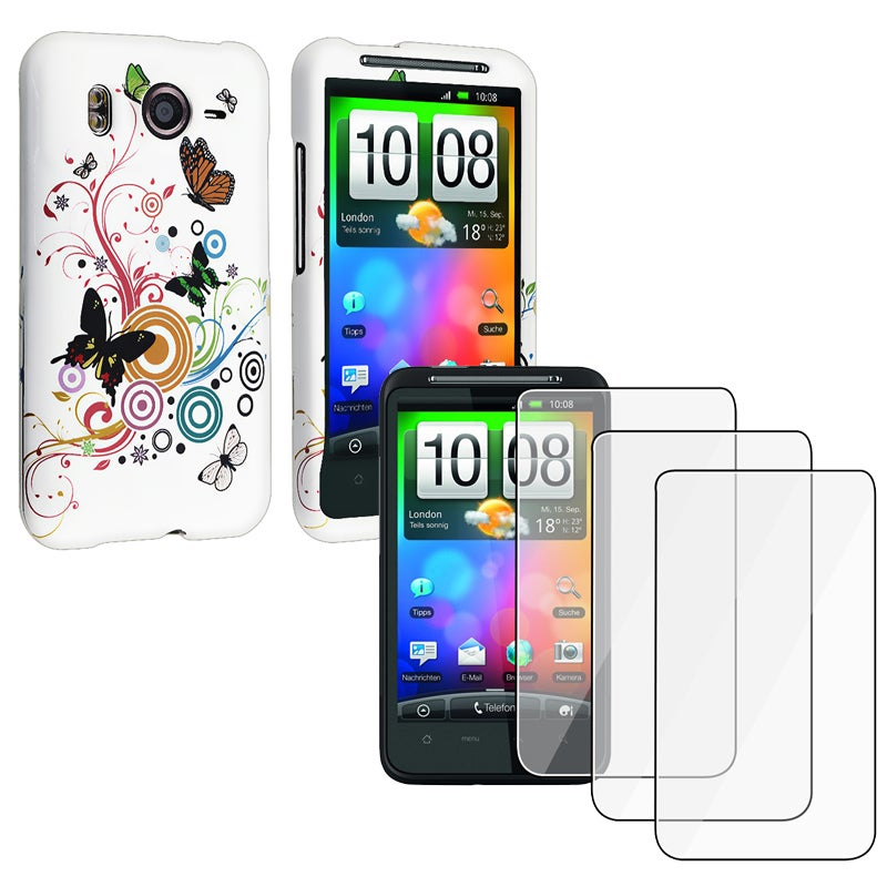 INSTEN White Butterfly Phone Case Cover/ LCD Protectors for HTC Desire HD/ Inspire 4G