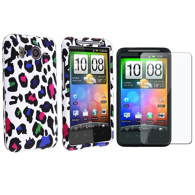 White/ Clear Leopard Case/ LCD Protector for HTC Inspire 4G
