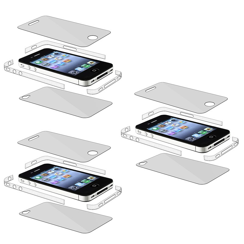 INSTEN Full-body/ Edge Screen Protector for Apple iPhone 4 AT&T (Pack of 3)