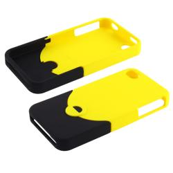 Yellow/ Black Case/ Mirror LCD Protector for Apple iPhone 4/ 4S