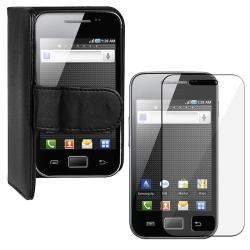 Black Leather Wallet Case/LCD Protector 2-Piece Set for Samsung Galaxy Ace S5830