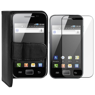 Black Leather Wallet Case/ LCD Protector for Samsung Galaxy Ace S5830