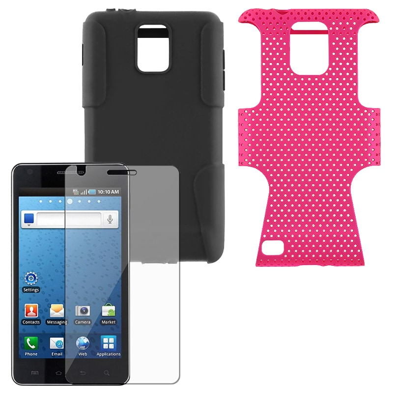 INSTEN Hot Pink Hybrid Phone Case Cover/ Screen Protector for Samsung Infuse 4G i997