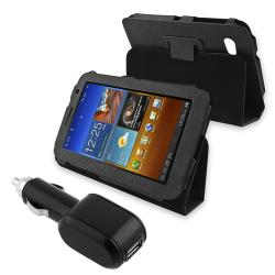Black Leather Case/ USB Car Charger for Samsung Galaxy Tab 7.0 P6200