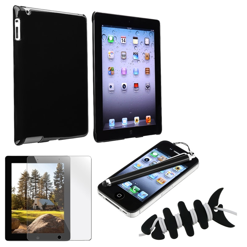 INSTEN Black Case Cover/ Screen Protector/ Wrap/ Stylus for Apple iPad 2/ 3/ 4