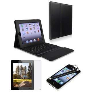 INSTEN Tablet Case Cover with Bluetooth Keyboard/ LCD Protector/ Stylus for Apple iPad 3