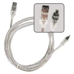 BasAcc 6-foot Translucent IEEE 1394 M/ M 6-pin to 4-pin Firewire Cable