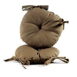Brown 17-inch Round Indoor-Outdoor Bistro Chair Cushion (Set of 2)
