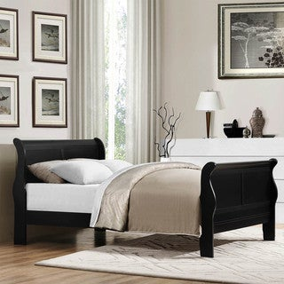 TRIBECCA HOME Canterbury Louis Phillip Black Full-size Sleigh Bed
