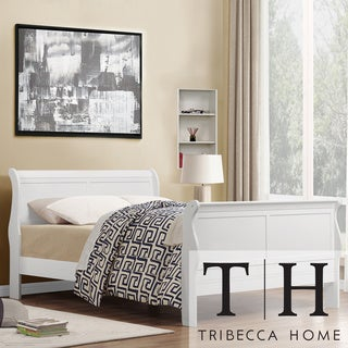 TRIBECCA HOME Canterbury Louis Phillip White Full-size Sleigh Bed