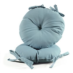 Sky Blue 17-inch Round Indoor-Outdoor Bistro Chair Cushion (Set of 2)