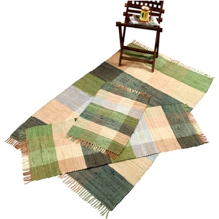 Check Chindi Cotton Green 3-piece Accent Rug Set