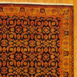 Indo Hand-knotted Tabriz Navy/ Beige Wool Rug (6' x 9')