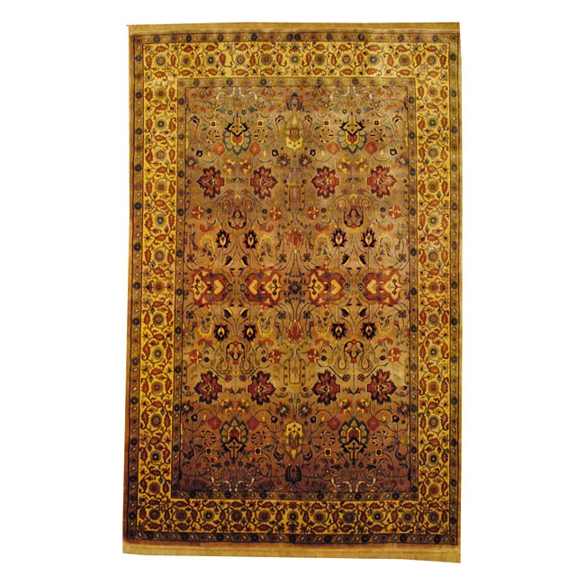 Indo Hand-knotted Mahal Light Brown/ Beige Wool Rug (6' x 9')