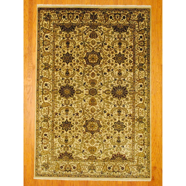 Herat Oriental Indo Hand-knotted Mahal Ivory/ Red Wool Rug (6' x 9')