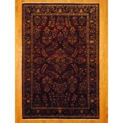 Indo Hand-knotted Sarouk Burgundy/ Navy Wool Rug (6' x 9')