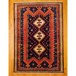 Persian Hand-knotted Tribal Hamadan Navy/ Rust Wool Rug (5'10 x 8'4)