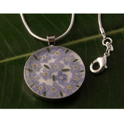 Forgetmenot Flowers Big Round Pendant (Mexico)