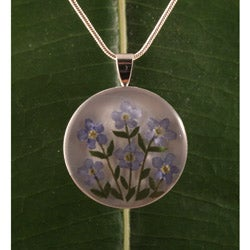 Forgetmenot Flowers Silverplated Pendant (Mexico)