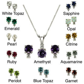 Gems for You High-polish Sterling Silver Birthstone Pendant and Earring Set
