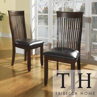 Tribecca Home Winsford Burnished Cherry High Back Transitional Dining Chair (Set of 2)