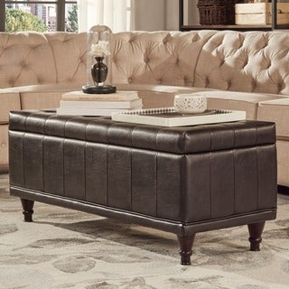 ETHAN HOME St Ives Lift Top Faux Leather Tufted Storage Bench
