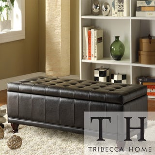 TRIBECCA HOME St Ives Lift Top Faux Leather Tufted Storage Bench