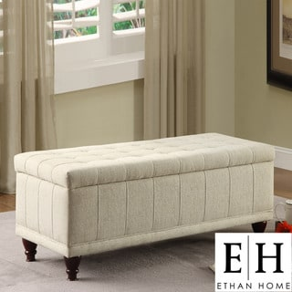 ETHAN HOME St Ives Lift Top Cream Fabric Tufted Storage Bench