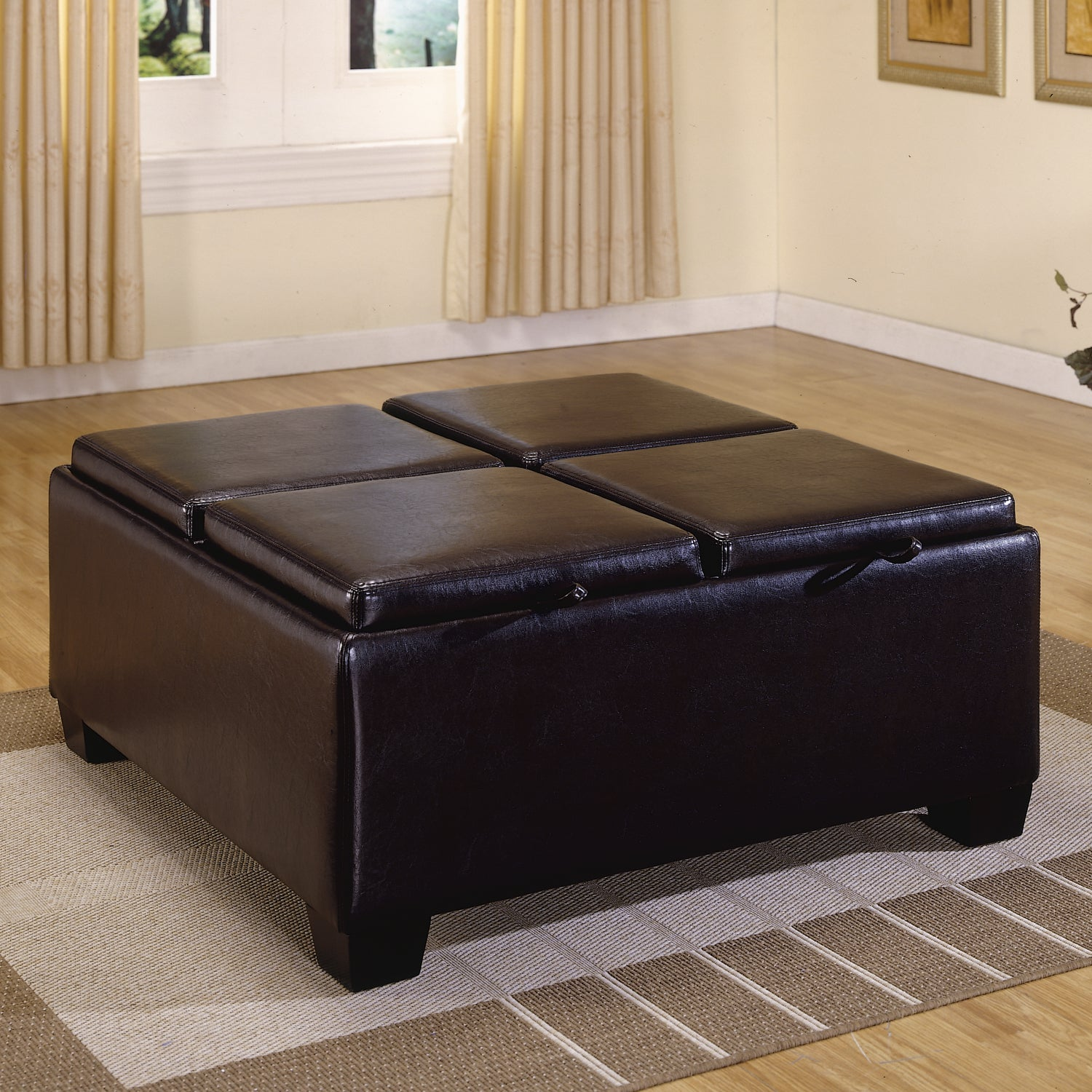 TRIBECCA HOME Oakford Dark Brown Faux Leather Cocktail Tray Top Storage Ottoman